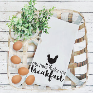 Tea Towels- My Pets Make Me Breakfast, Graphic Tea Towels
