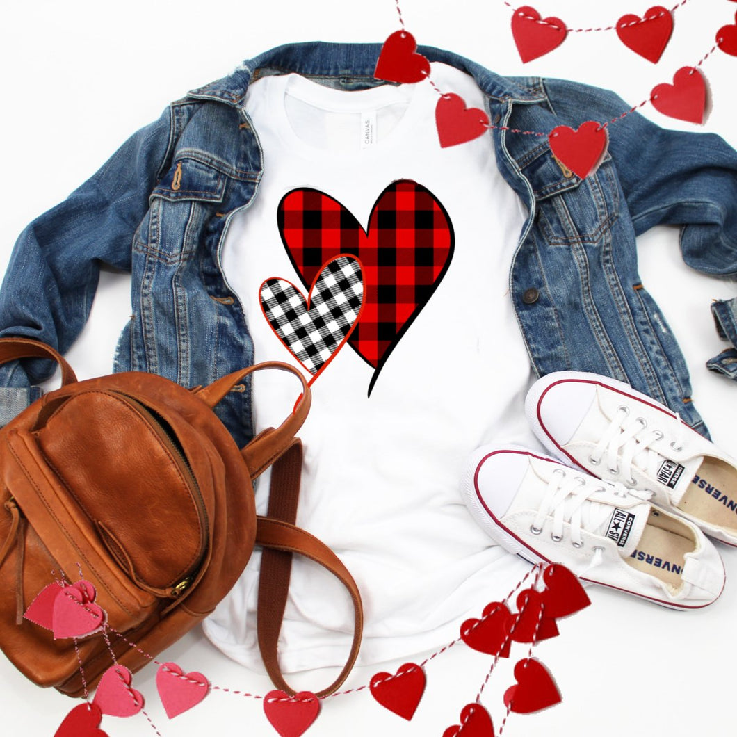 Two Plaid Hearts-Plus Sizes