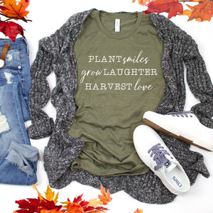 White Plant Smiles Grow Laughter Harvest Love-Plus Sizes