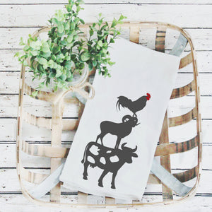 Tea Towels- Stacked Animals, Graphic Tea Towels