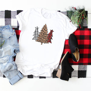 Red And White Plaid And Leopard Print Trees-Plus Sizes