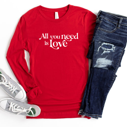 Long Sleeve: All You Need Is Love (White)-Plus Sizes