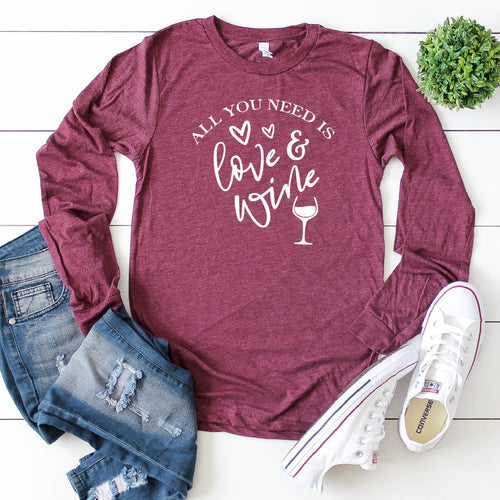 Long Sleeve: All You Need Is Love & Wine (White)-Plus Sizes