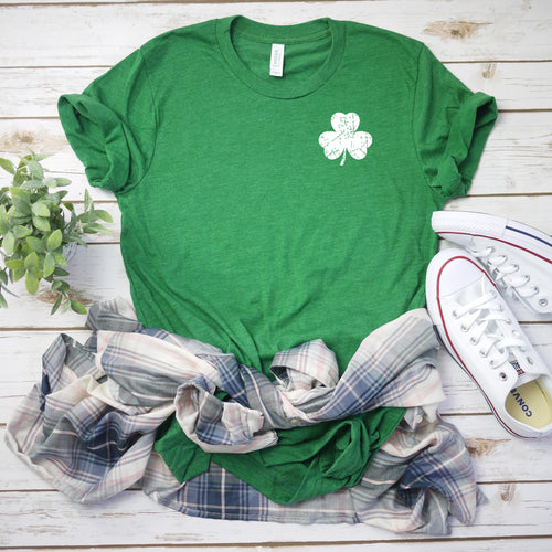 Sublimation Transfer-Small Distressed White Shamrock (Pack Of 1, 5, OR 10)