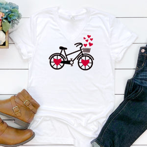 Black & Red Heart Bicycle-V-Neck