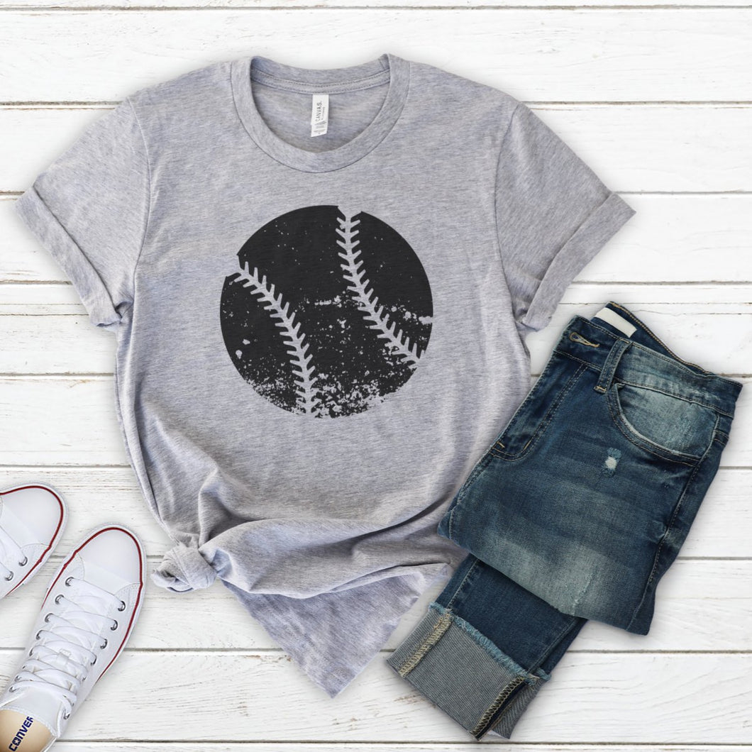 Distressed Baseball Black-Plus Sizes