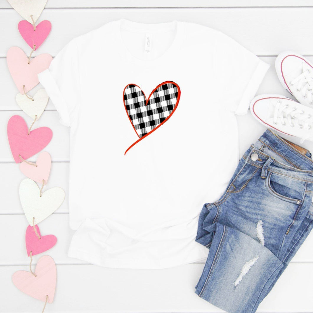 Black & White Plaid Heart Red Outline-Plus Sizes
