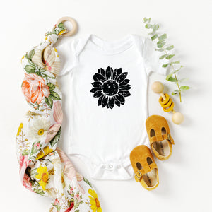 Black Distressed Sunflower Onesie