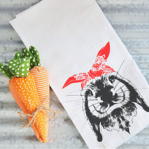 Tea Towels- Wild Bunny, Graphic Tea Towels