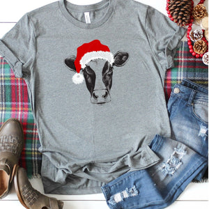 Cow With Santa Hat-Plus Sizes