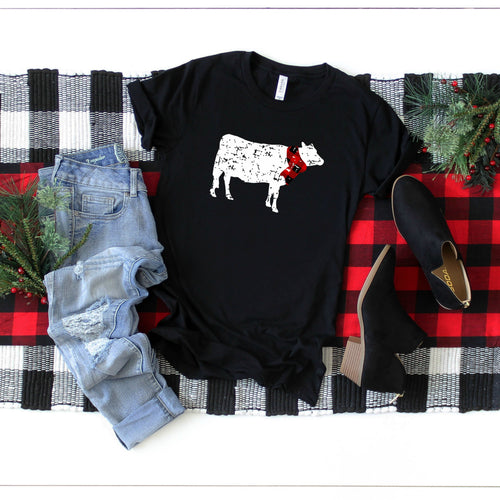 Distressed Cow with Plaid Scarf