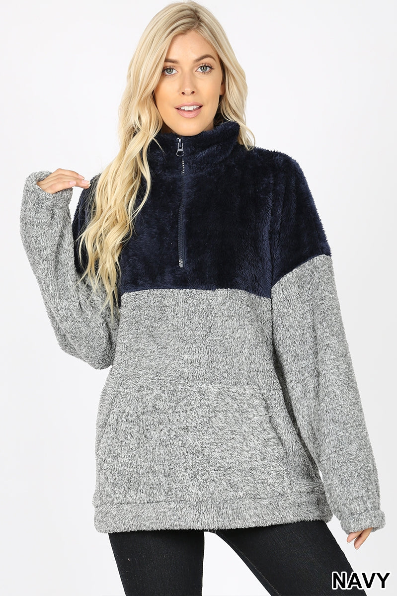 Contrast Melange Faux Fur Zip-up
