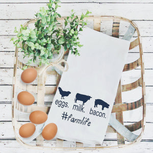 Tea Towels- Eggs Milk and Bacon, Graphic Tea Towels