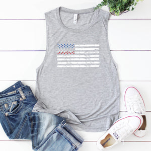Distressed Flag- Muscle Tank