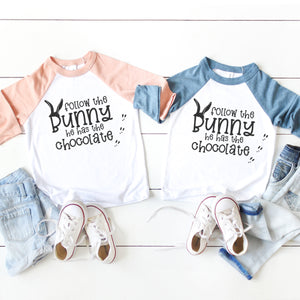 Follow the Bunny He Has Chocolate Youth Raglan