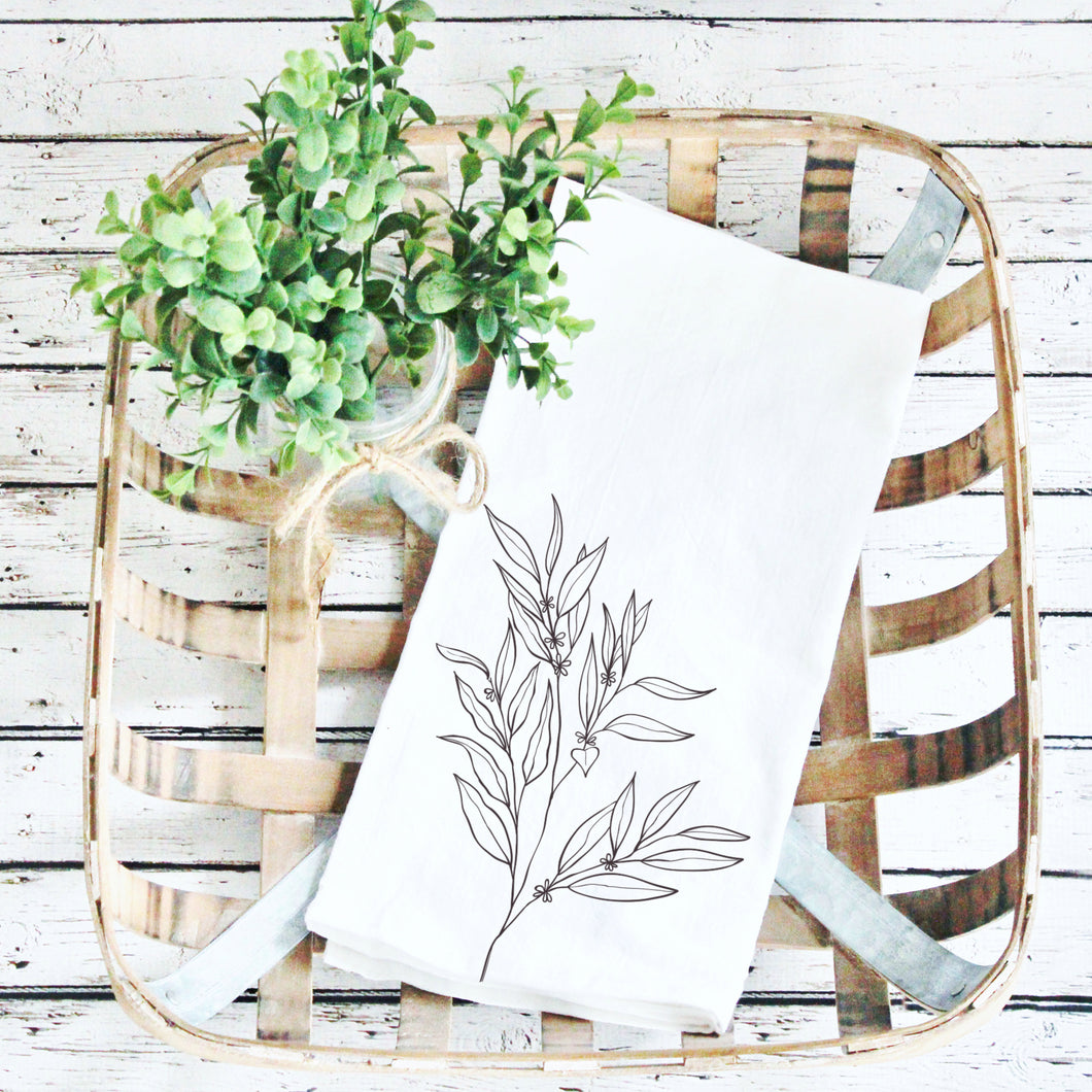 Tea Towels- Greenery Black Print!