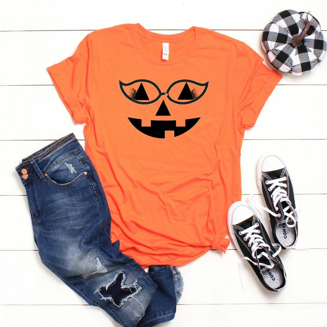 Pumpkin Face With Lashes And Glasses