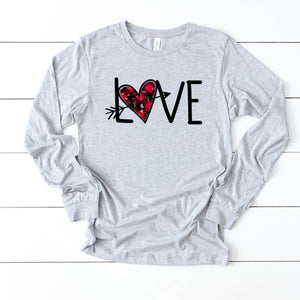 Long Sleeve: Love Distressed Plaid Arrow Heart