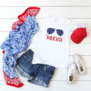 Merica Glasses- Muscle Tank