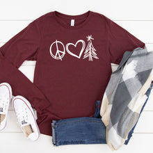 Peace Love Christmas (White)-Long Sleeve-Plus Sizes