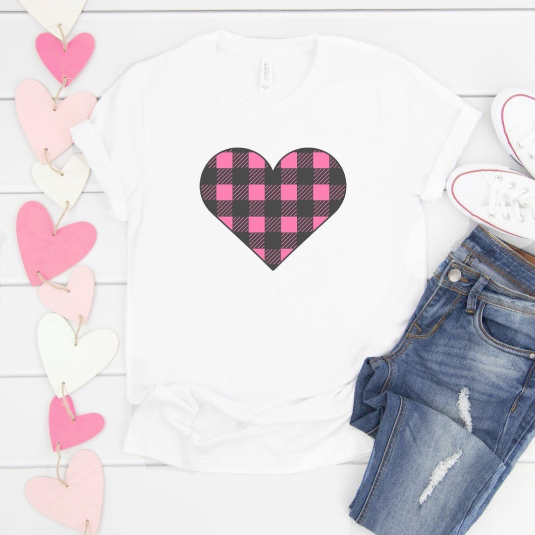 Pink Plaid Heart-Plus Sizes