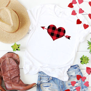 Plaid Heart With Arrow-Plus Sizes