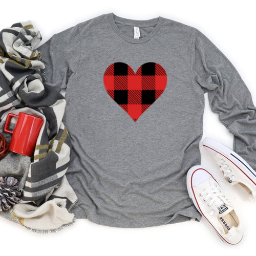 Long Sleeve: Red & Black Plaid Heart