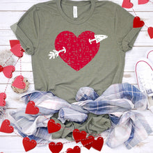 Red Distressed Heart With Arrow-Plus Sizes