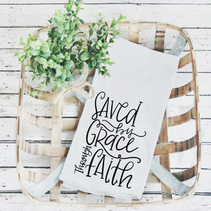 Tea Towels- Saved By Grace, Graphic Tea Towels