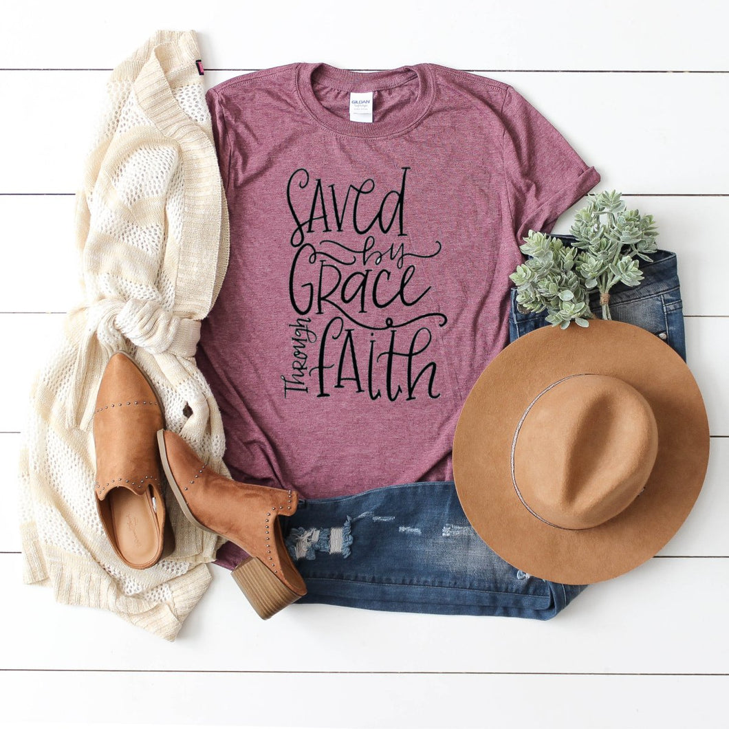 Saved By Grace Through Faith-Plus Sizes