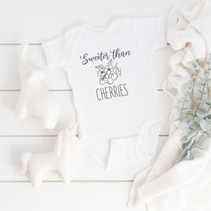 Grey Sweeter than Cherries Onesie