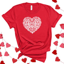 White Damask Heart-Plus Sizes