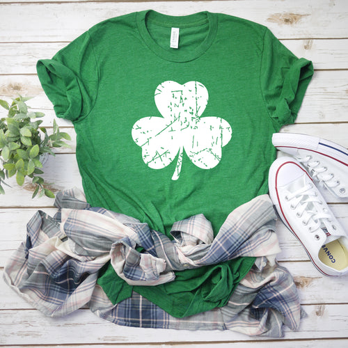 Sublimation Transfer-White Distressed Shamrock (Pack Of 1 OR 5)