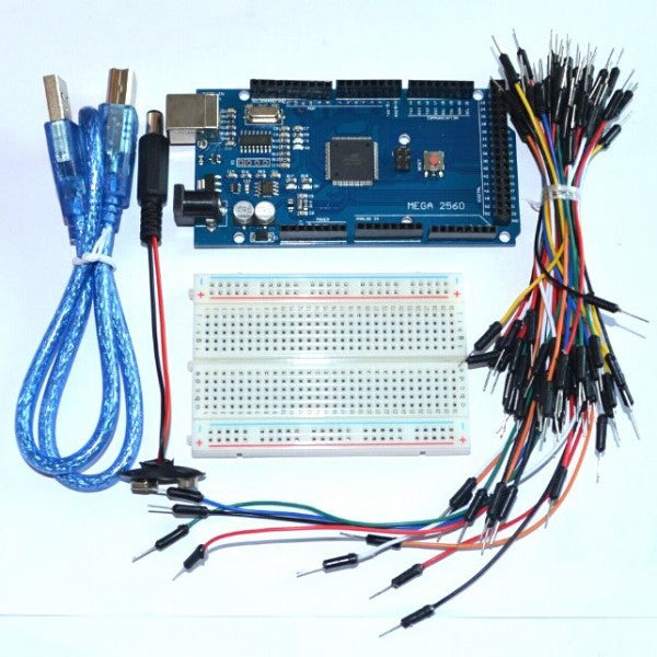 Starter Kit - Bundle of 5 Items: Mega 2560 R3, Breadboard, Jumper Wire