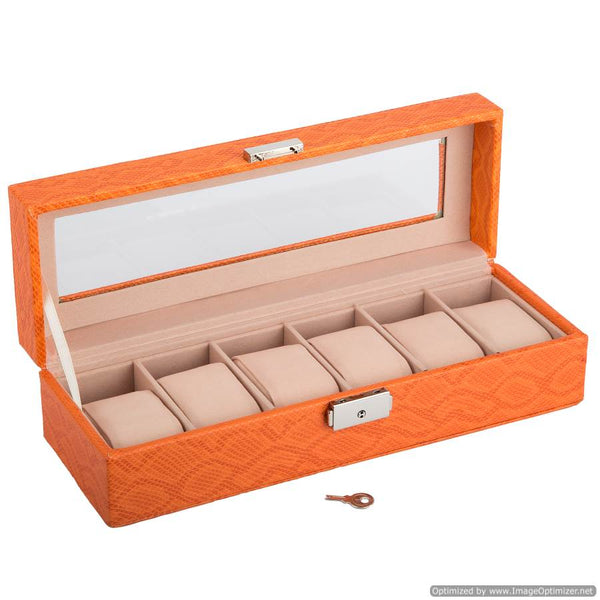 6 WATCHES JEWELLERY BOX /ORANGE