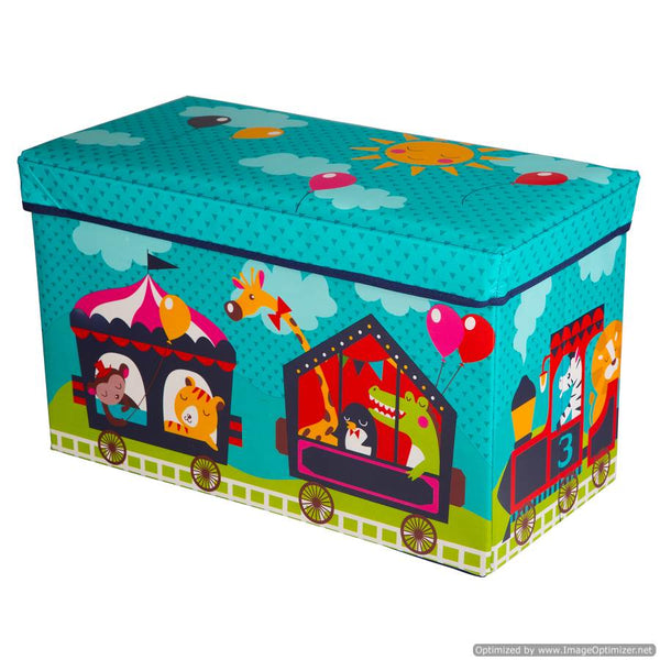 LARGE KIDS TOY BOX WITH ANIMALS - TURQUOISE