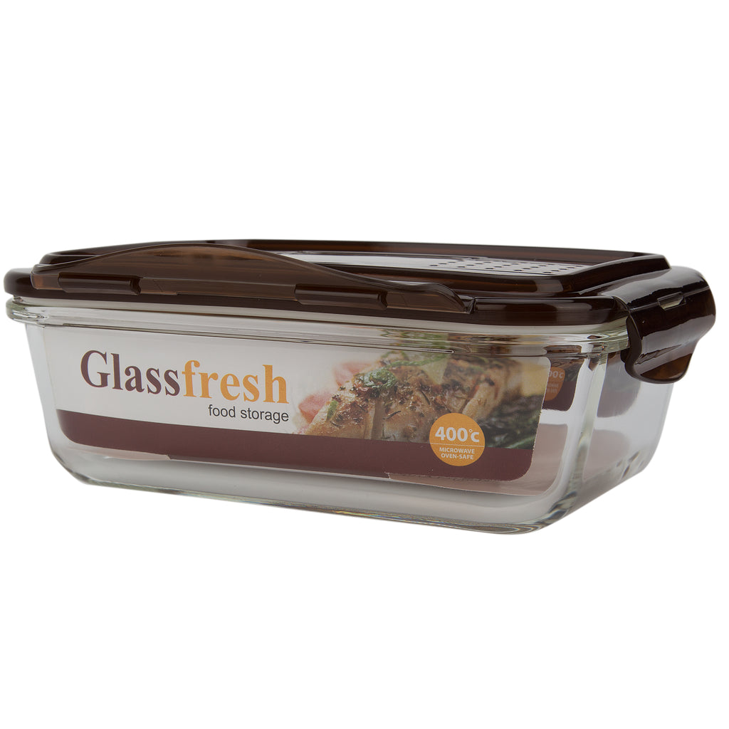 GLASS FOOD BOX (BROWN COVER)