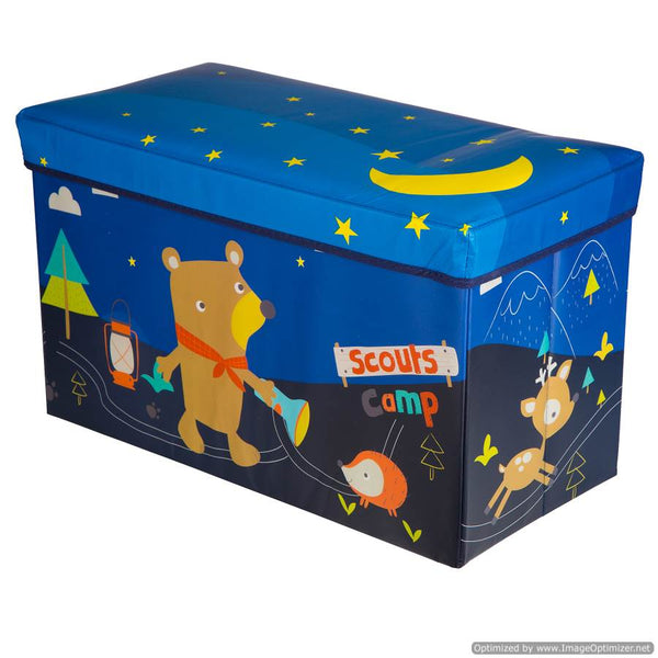 LARGE KIDS TOY BOX WITH ANIMALS - BLUE