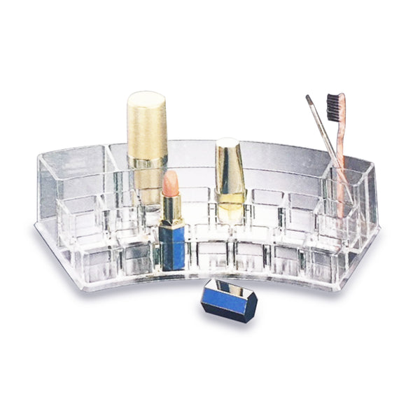 CURVED CLEAR ACRYLIC COSMETIC ORGANIZER