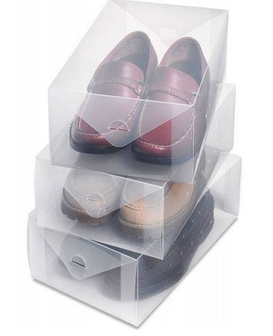 CLEAR PLASTIC SHOE BOX