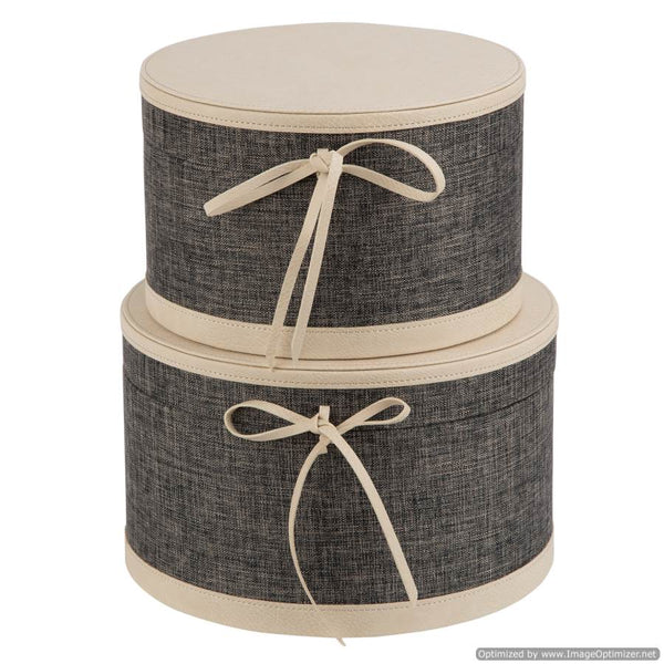 SET OF 2 ROUND BOXES - NATURAL
