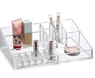 CLEAR ACRYLIC LARGE MAKE-UP ORGANIZER WITH LIPSTICK HOLDER