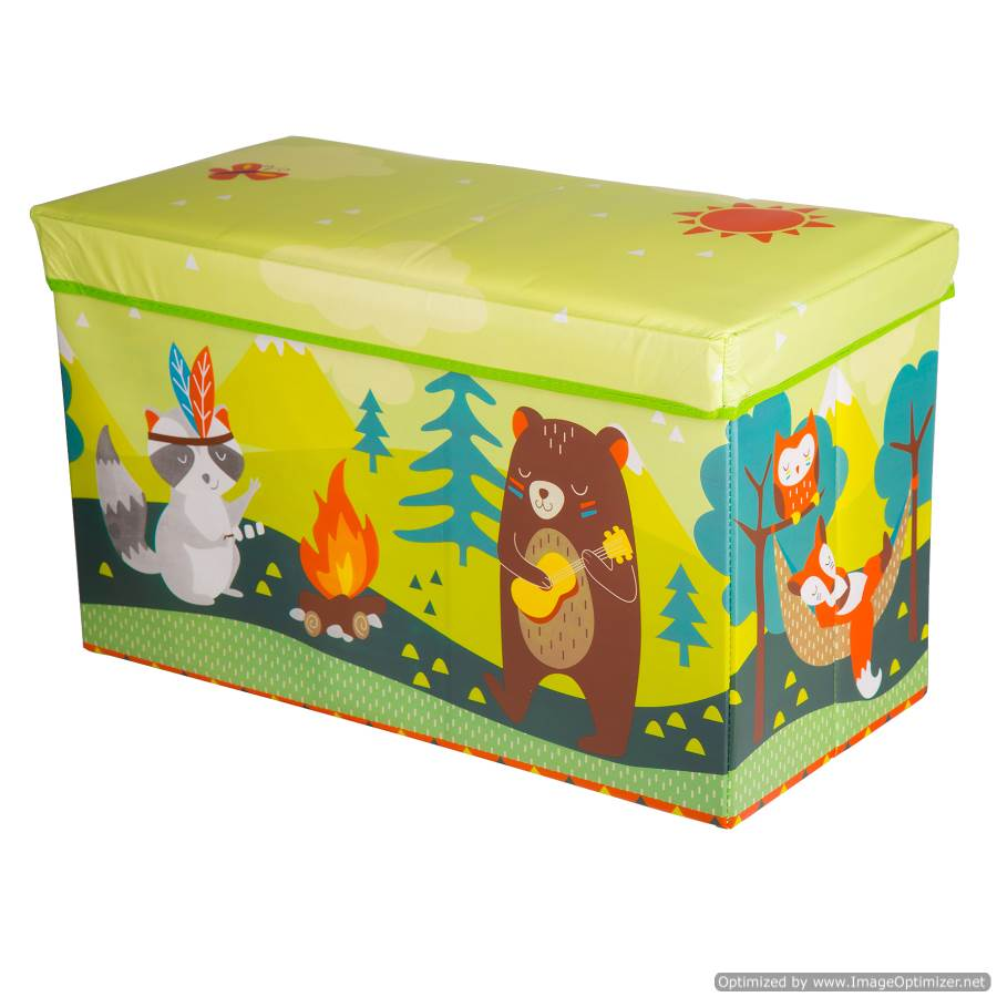 LARGE KIDS TOY BOX WITH ANIMALS - GREEN