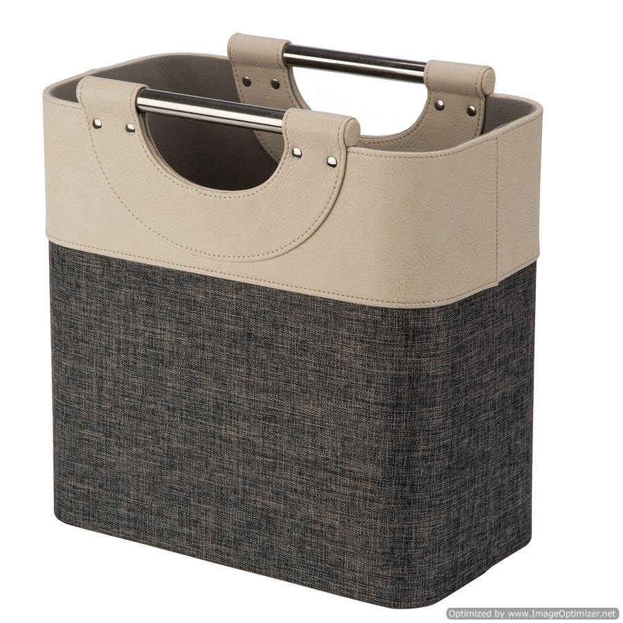 MAGAZINE BASKET WITH METAL HANDLES - NATURAL