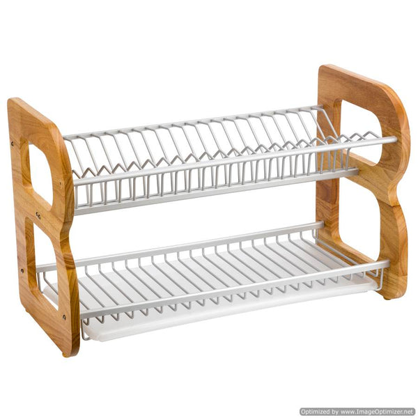 WOODEN AND IRON DISH RACK