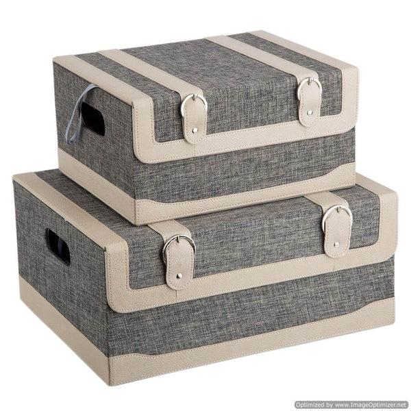 SET OF 2 SQUARE BOXES  - NATURAL
