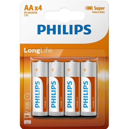 AA Batteries Philips 4 Pack