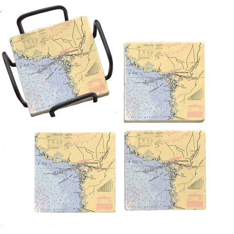 Steinhatchee, FL Marble Coaster Set