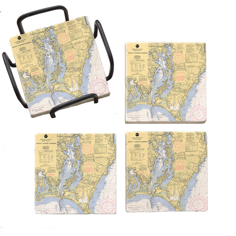 Point Judith, RI Marble Coaster Set