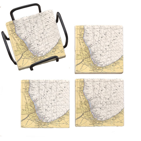 Chicago, IL Marble Coaster Set